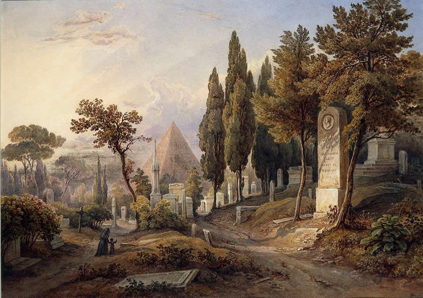 Rudolph Müller, The Protestant Cemetery in Rome with the Tomb of Julius von Goethe, 1840s