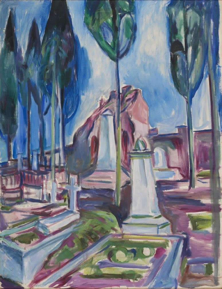 Edvard Munch, P.A.Munch's Grave in Rome 1927
