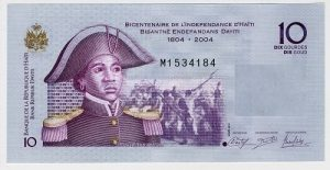 Banknote for 10 gourdes with portrait of Sanité Bélair. Issued by Haiti
