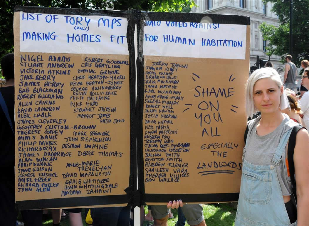 Grenfell - list of Tory MPs voting against making homes fit for human habitation bill