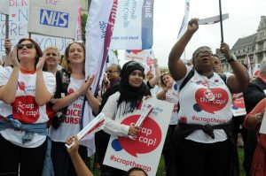 Trade unions on the march: Nurses on a recent protest outside Parliament