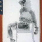 David Hammons Injustice Case 1970 Body print and screenprint on paper, frame wrapped with American flag 160 × 102.9