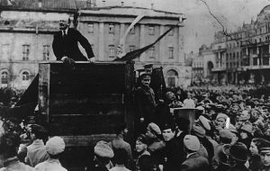 Lenin addressing troops in 1920, with Trotsky on his left. Photography by Dmitrii Goldshtein, 1920