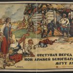 Retreating, the Whites are burning the crops, Soviet propaganda poster