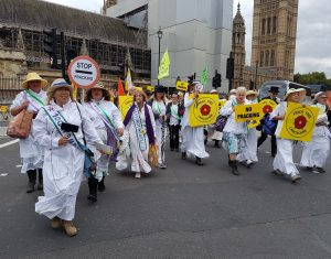 Women of Lancashire against fracking and for democracy outside Parliament
