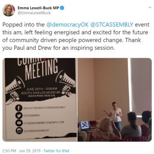 Local MP Emma Lewell-Buck tweets support for #STCASSEMBLY