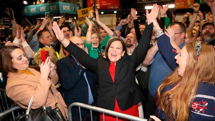 Sinn Fein leader Mary Lou McDonald celebrates with supporters after topping the poll in Dublin central